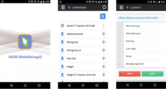 UCLA MobilizingCS mobile app, the cross-platform mobile data collection app that prompt users to enter the data based on the campaign definition.