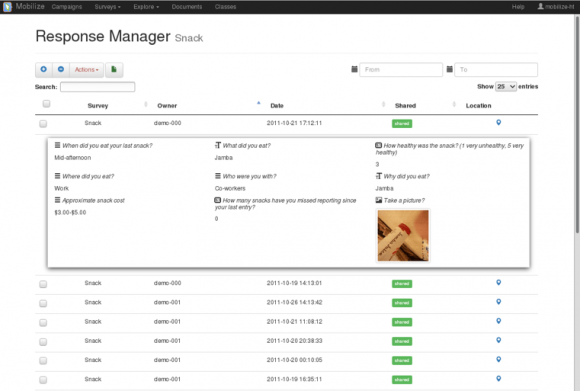 Response Manager allowing teachers to manage students' survey responses. Teachers can review and delete inappropriate responses or change the response privacy states to allow sharing among class members.